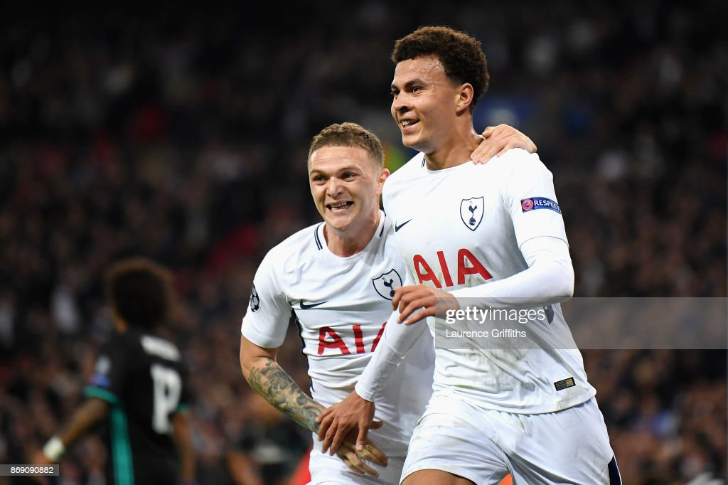 Dele Alli celebrates scoring his side's first goal with Kieran Trippier of Tottenham Hotspur during the UEFA Champions League group H match between Tottenham Hotspur and Real Madrid at Wembley Stadium on November 1, 2017 in London, United Kingdom.