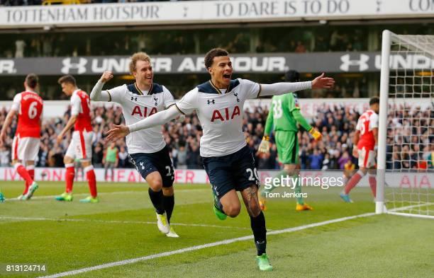 Dele Alli celebrates scoring the 1st Spurs goal during the Tottenham Hotspur v Arsenal FA Premier League match at White Hart Lane on April 30th 2017...