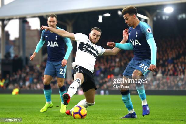 Dele Alli closes down Tim Ream of Fulham during the Premier League match between Fulham FC and Tottenham Hotspur at Craven Cottage on January 20 2019...