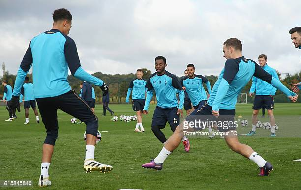 Dele Alli, Georges-Kévin N'Koudou and Vincent Janssen of Tottenham during the Tottenham Hotspur training session at Tottenham Hotspur Training Centre...