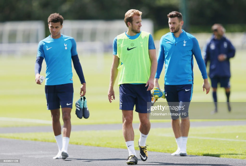 Dele Alli, Harry Kane and Hugo Lloris of Tottenham during the Tottenham Hotspur training session at Tottenham Hotspur Training Centre on August 17, 2017 in Enfield, England.