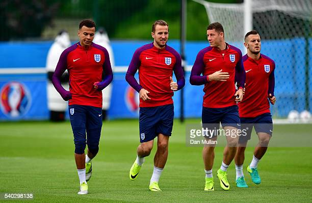 Dele Alli Harry Kane Ross Barkley and Jack Wilshire of England warm up during a training session at Stade du Bourgognes ahead of the UEFA Euro 2016...