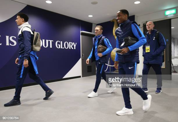 Dele Alli Kieran Trippier and Kyle WalkerPeters of Tottenham Hotspur arrive to the Premier League match between Tottenham Hotspur and West Ham United...