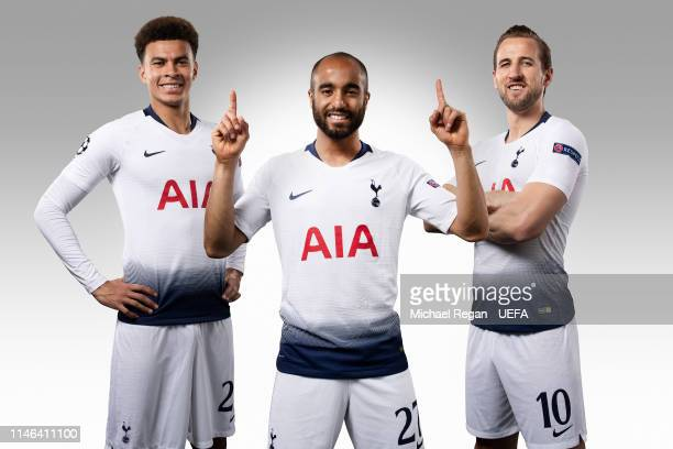 Dele Alli Lucas Moura and Harry Kane at the Tottenham Hotspur Training Ground on May 15 2019 in Enfield England