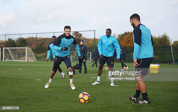 Dele Alli Moussa Sissoko and Cameron CarterVickers of Tottenham during the Tottenham Hotspur training session at Tottenham Hotspur Training Centre on...