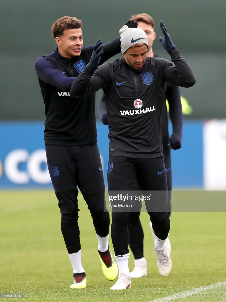 Dele Alli of England attempts to steal Kyle Walker of England hat during the England training session at the Stadium Spartak Zelenogorsk on July 2, 2018 in Saint Petersburg, Russia.