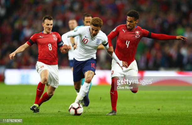 Dele Alli of England battles with Theodor Gebre Selassie and Vladimir Darida of the Czech Republic during the 2020 UEFA European Championships Group...