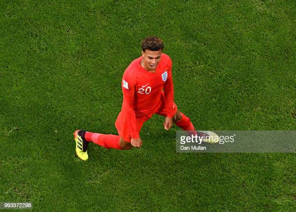 Dele Alli of England celebrates after scoring his team's second goal during the 2018 FIFA World Cup Russia Quarter Final match between Sweden and...