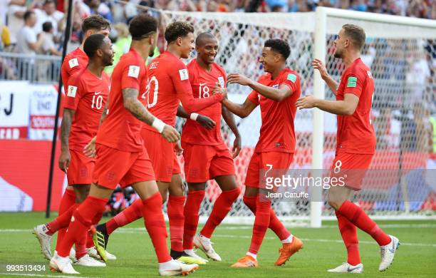 Dele Alli of England celebrates his goal with Raheem Sterling Ashley Young Jesse Lingard Jordan Henderson during the 2018 FIFA World Cup Russia...