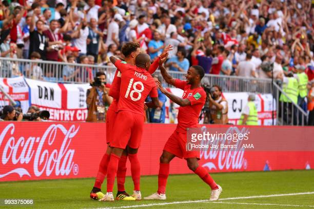 Dele Alli of England celebrates scoring a goal to make it 02 during the 2018 FIFA World Cup Russia Quarter Final match between Sweden and England at...