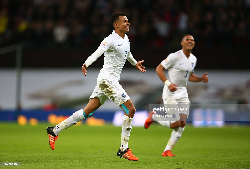 Dele Alli of England celebrates scoring his team's first goal during the International Friendly match between England and France at Wembley Stadium on November 17, 2015 in London, England.