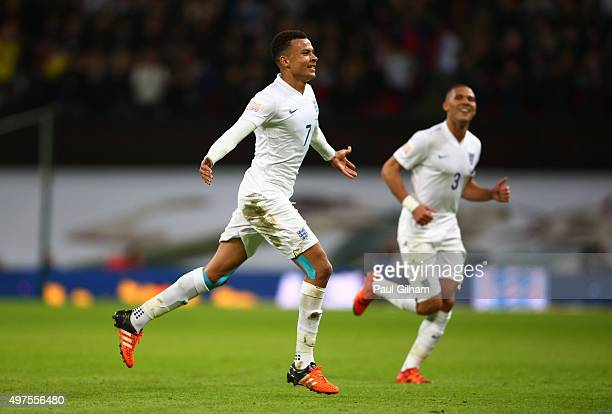 Dele Alli of England celebrates scoring his team's first goal during the International Friendly match between England and France at Wembley Stadium...