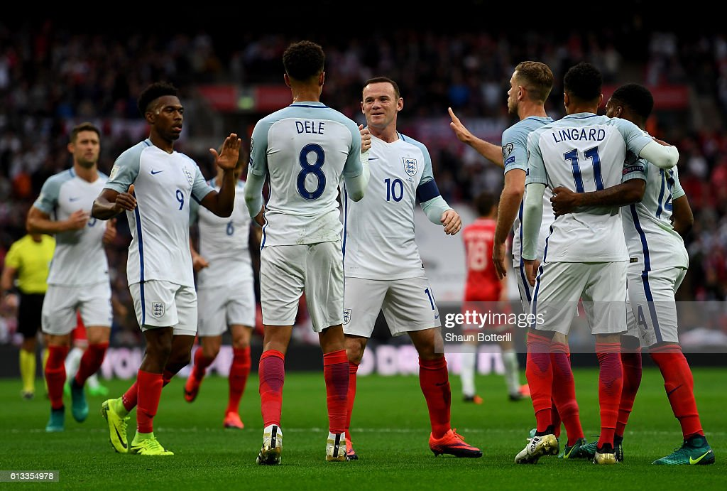 Dele Alli of England celebrates with team mates after scoring his teams second goal of the game during the FIFA 2018 World Cup Qualifier Group F match between England and Malta at Wembley Stadium on October 8, 2016 in London, England.