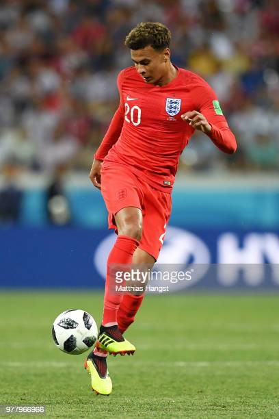 Dele Alli of England controls the ball during the 2018 FIFA World Cup Russia group G match between Tunisia and England at Volgograd Arena on June 18...