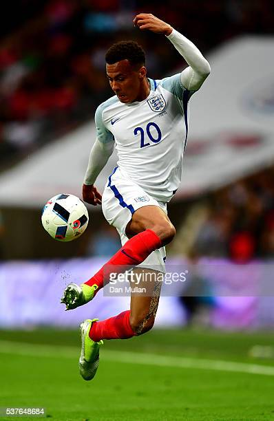 Dele Alli of England controls the ball during the international friendly match between England and Portugal at Wembley Stadium on June 2 2016 in...
