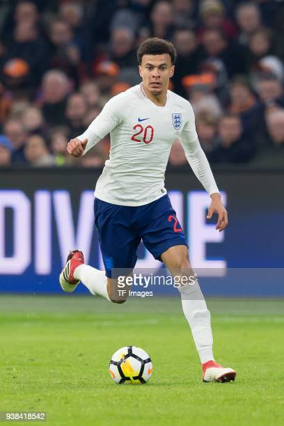 Dele Alli of England controls the ball during the international friendly match between Netherlands and England at Amsterdam Arena on March 23 2018 in...