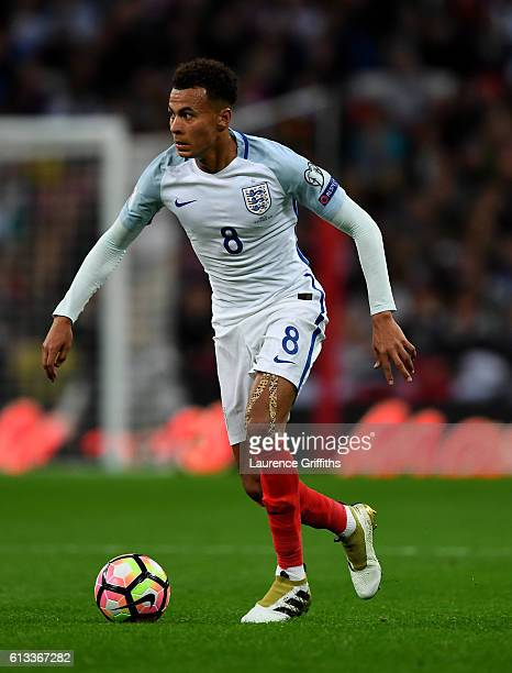 Dele Alli of England in action during the FIFA 2018 World Cup Qualifier Group F match between England and Malta at Wembley Stadium on October 8 2016...