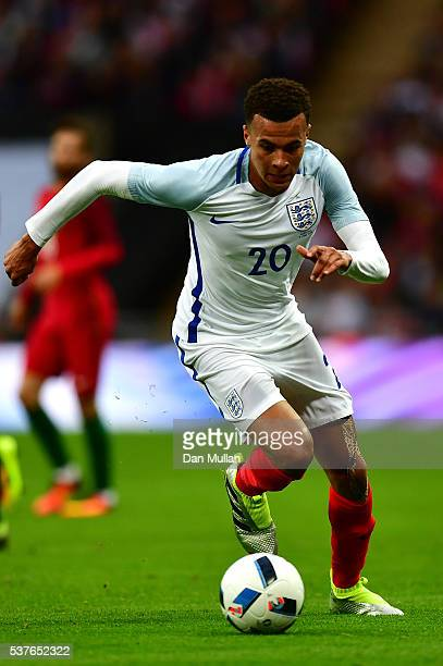 Dele Alli of England in action during the international friendly match between England and Portugal at Wembley Stadium on June 2 2016 in London...
