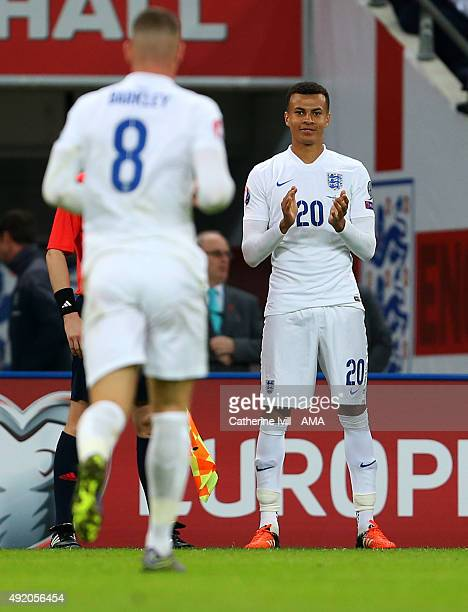 Dele Alli of England makes his debut as he substiutes Ross Barkley of England during the UEFA EURO 2016 Qualifier match between England and Estonia...