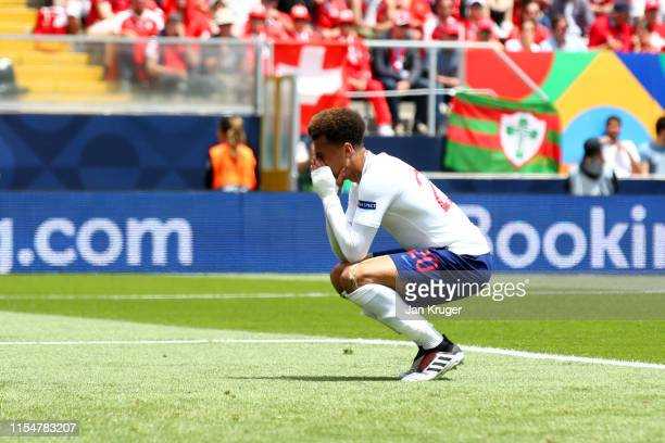 Dele Alli of England reacts after a missed chance during the UEFA Nations League Third Place Playoff match between Switzerland and England at Estadio...