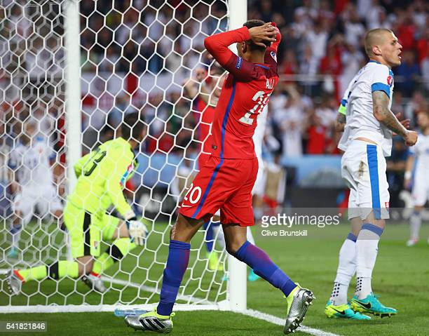 Dele Alli of England reacts after missing a chance during the UEFA EURO 2016 Group B match between Slovakia and England at Stade GeoffroyGuichard on...