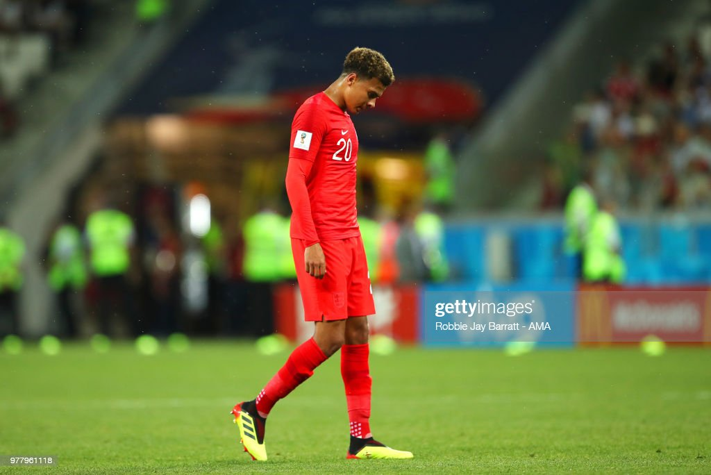 Dele Alli of England reacts during the 2018 FIFA World Cup Russia group G match between Tunisia and England at Volgograd Arena on June 18, 2018 in Volgograd, Russia.
