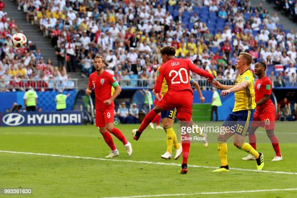 Dele Alli of England scores his sides second goal during the 2018 FIFA World Cup Russia Quarter Final match between Sweden and England at Samara...