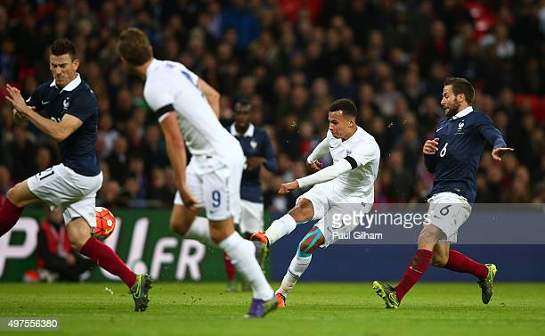 Dele Alli of England scores his team's first goal during the International Friendly match between England and France at Wembley Stadium on November...