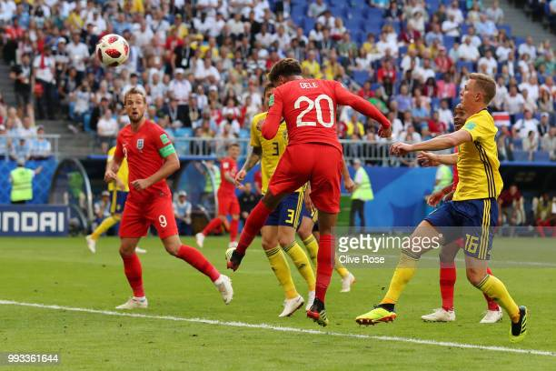 Dele Alli of England scores his team's second goal during the 2018 FIFA World Cup Russia Quarter Final match between Sweden and England at Samara...