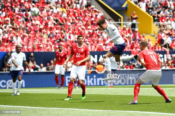 Dele Alli of England shoots and misses during the UEFA Nations League Third Place Playoff match between Switzerland and England at Estadio D Afonso...