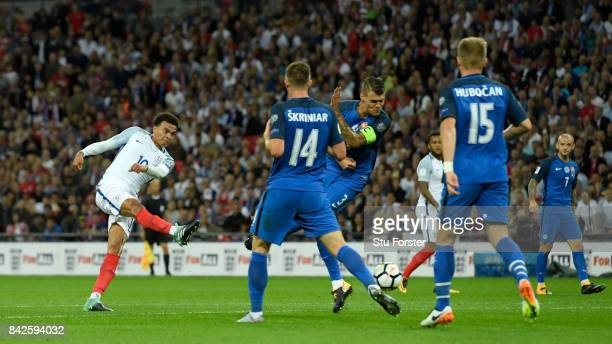 Dele Alli of England shoots during the FIFA 2018 World Cup Qualifier between England and Slovakia at Wembley Stadium on September 4 2017 in London...