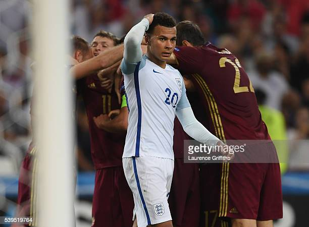 Dele Alli of England shows his disappointment after Vasili Berezutski of Russia scores the equalising goal during the UEFA EURO 2016 Group B match...