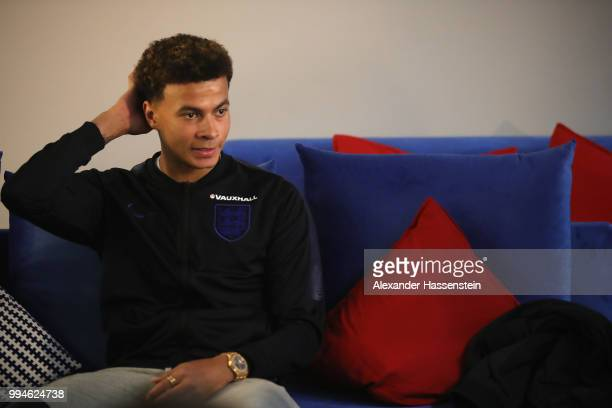 Dele Alli of England speaks to the media during an England press conference at Repino Cronwell Park Hotel on July 9 2018 in Saint Petersburg Russia