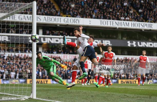Dele Alli of ottenham Hotspur misses a chance to score during the Premier League match between Tottenham Hotspur and Arsenal at White Hart Lane on...