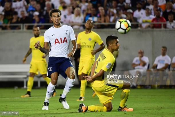 Dele Alli of Spurs and Marquinhos of PSG during the International Champions Cup match between Paris Saint Germain and Tottenham Hotspur on July 22...