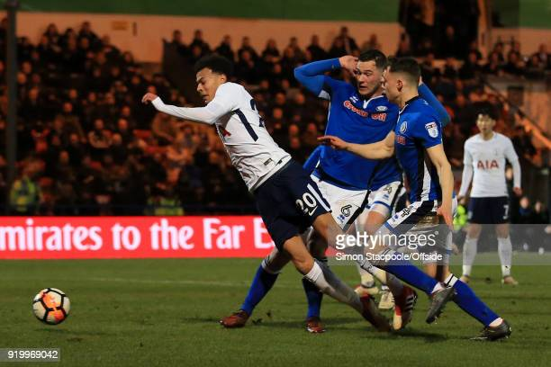 Dele Alli of Spurs goes down for a penalty during The Emirates FA Cup Fifth Round match between Rochdale AFC and Tottenham Hotspur at Spotland...