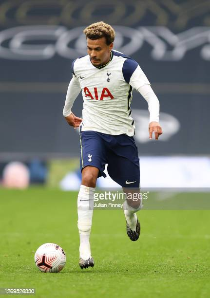 Dele Alli of Spurs in action during the preseason friendly match between Tottenham Hotspur and Birmingham City at Tottenham Hotspur Stadium on August...