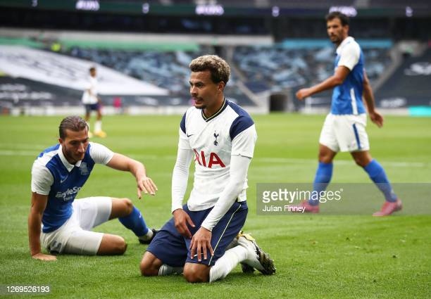 Dele Alli of Spurs looks on during the preseason friendly match between Tottenham Hotspur and Birmingham City at Tottenham Hotspur Stadium on August...