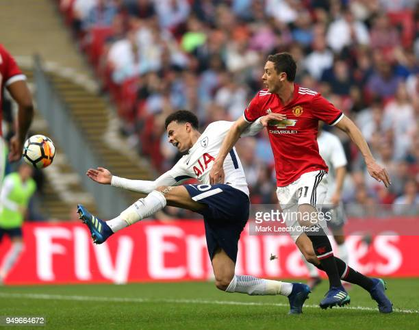 Dele Alli of Tottenham and Nemanja Matic of Man Utd during the FA Cup semi final between Manchester United and Tottenham Hotspur at Wembley Stadium...