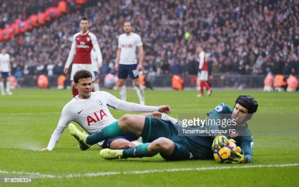 Dele Alli of Tottenham and Petr Cech of Arsenal during the Premier League match between Tottenham Hotspur and Arsenal at Wembley Stadium on February...