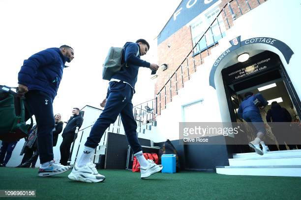 Dele Alli of Tottenham arrives during the Premier League match between Fulham FC and Tottenham Hotspur at Craven Cottage on January 20 2019 in London...