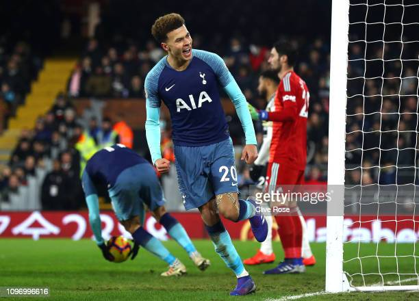 Dele Alli of Tottenham celebrates after he scores his sides first goal during the Premier League match between Fulham FC and Tottenham Hotspur at...