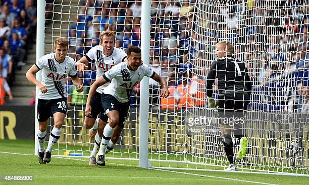 Dele Alli of Tottenham celebrates after his goal during the Barclays Premier League match between Leicester City and Tottenham Hotspur at the King...