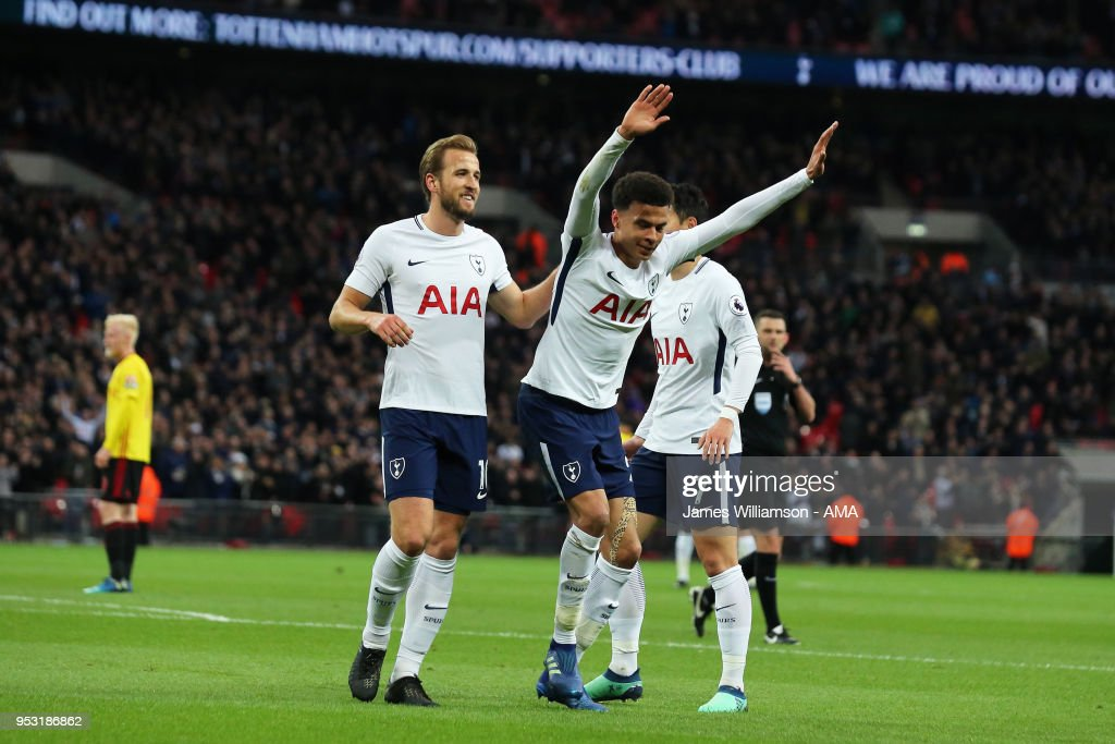 Dele Alli of Tottenham celebrates after scoring a goal to make it 1-0 during the Premier League match between Tottenham Hotspur and Watford at Wembley Stadium on April 30, 2018 in London, England.