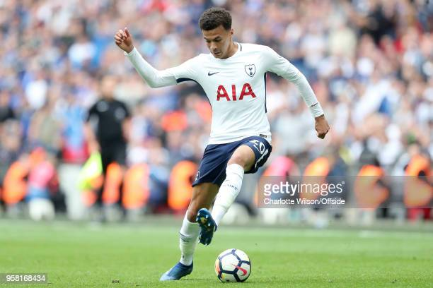 Dele Alli of Tottenham during the Premier League match between Tottenham Hotspur and Leicester City at Wembley Stadium on May 13 2018 in London...