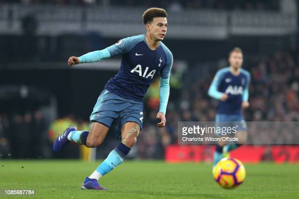 Dele Alli of Tottenham during the Premier League match between Fulham FC and Tottenham Hotspur at Craven Cottage on January 20 2019 in London United...