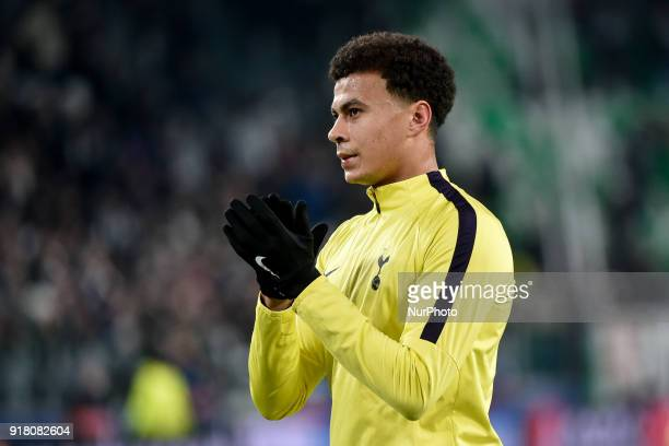 Dele Alli of Tottenham during the UEFA Champions League Round of 16 match between Juventus and Tottenham Hotspur at the Juventus Stadium Turin Italy...
