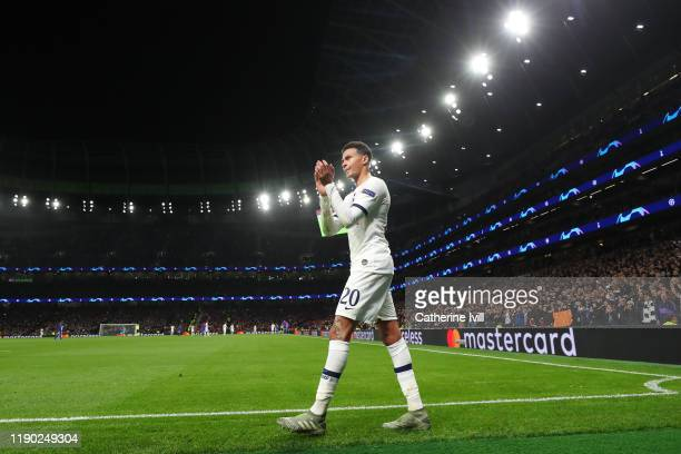 Dele Alli of Tottenham Hotspur acknowledges the fans during the UEFA Champions League group B match between Tottenham Hotspur and Olympiacos FC at...