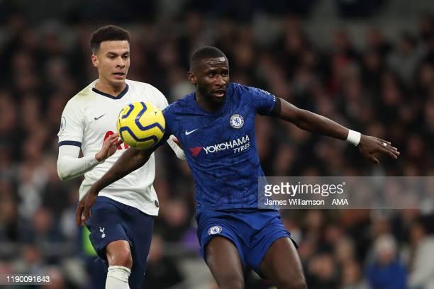 Dele Alli of Tottenham Hotspur and Antonio Rudiger of Chelsea during the Premier League match between Tottenham Hotspur and Chelsea FC at Tottenham...