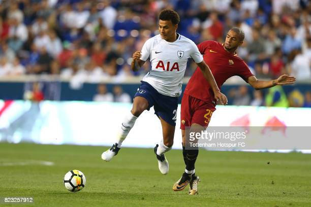 Dele Alli of Tottenham Hotspur and Bruno Peres of Roma vie for the ball during the International Champions Cup 2017 at Red Bull Arena on July 25,...